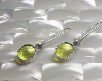 Peridot Green Dangle Earrings Modern Jewelry Drop Earrings Long Slender Earrings Cubic Zirconia Earrings in Matte Rhodium