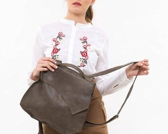 Dark brown leather backpack, Women's backpack, Minimalist bag, Handmade leather rucksack, Ladies backpack, Designer backpack, By BilhaBag