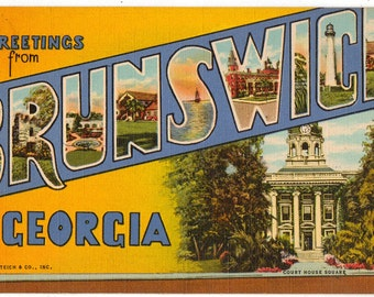 Linen Postcard, Greetings from Brunswick, Georgia, Large Letter, ca 1940