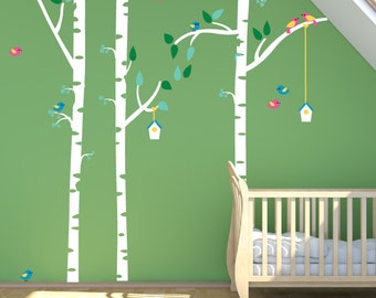 Birch Tree Fabric Decals, Kids Birch Trees with Birds REUSABLE Nontoxic Decals, 145