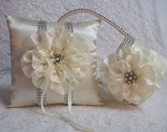 Ivory Flower Girl Basket and matching Ring Bearer Pillow with Rhinestone Mesh handle and Trim