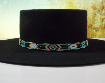 Green Turquoise Chevron Native American Beaded Hat Band Authentic Cherokee Hand Made Jewelry Beadwork By LJ Greywolf