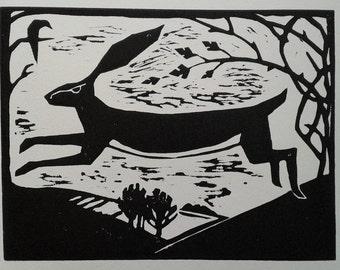 Black Hare and Raven handmade linoprint by Katrina Wallis-King - spring, folk art, Easter present, good luck, child's bedroom