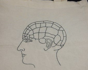 Phrenology Head Embroidered Tote Bag