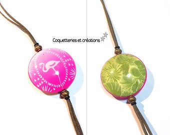 Necklace long necklace green foliage and pink gradient, double-sided screen printed Flamingo Pink handmade France. feminine jewelry