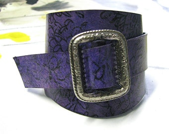 Gwyneth Leather Wrist Wrap Cuff - Purple Floral - Antique Silver Buckle