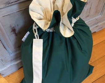 Christmas Santa Sack, Brunswick Green and Calico Genuine Quality, Hand Made, Large 75cm x 55cm, Fully Lined, Personalised