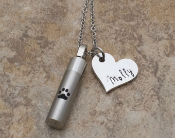 Pet Urn Necklace | Cremation Jewelry | Paw Print Necklace For Ashes | Remembrance Necklace | Hand Stamped Personalized Memorial Pet Necklace