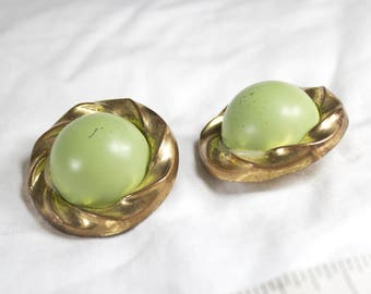 80's Retro Large Green & Gold Clip On Earrings