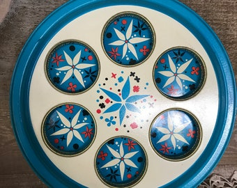Round Serving Tray with Cup Holders Tin Retro Design