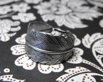Mothers Day Sale Light as a Feather Pretty Adjustable Silver Tone Feather handmade Ring
