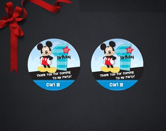 Personalized Mickey Mouse Round Thank You Tags One 1 First 1st Birthday Party Favor Gift Tags Round Label Printable DIY -Digital File