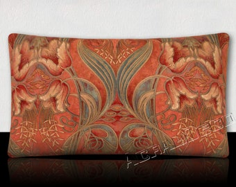 """""""ART NOUVEAU"""" - flower pattern cushion pink Blush/Pink Orchid/white/raspberry/grey Pearl/blue on pink"""