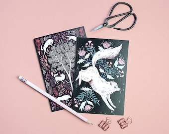 Wolves Pocket Notebooks - Set of Two Lined // Plain A6 Notebooks