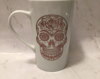 Sugar Skull mug // Skull mug // Sugar Skull Travel Mug // Floral Sugar Skull // Sugar Skull // Floral Skull // Skull Travel Mug