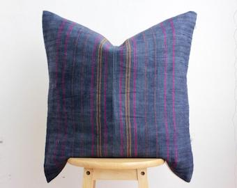 VINTAGE Hmong Pillow Hand Woven HEMP Organic HMONG Ethnic A Piece Of Tribal Textile Striped Black & Pink
