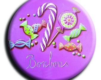 Badge with candy, Lollipop, barley sugar and candy diameter 45 mm