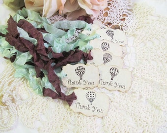 Hot Air Balloon Tags Parchment Favor Gift Thank You Shower Tags - Set of 18 - Choose Ribbons - birthday baby shower wedding favor tags