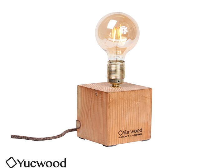 """Wooden lamp, """"Cube One"""", industrial lamp, Night lamp"""