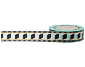 Accordion Tribal Gold Foil Tape, 15mm x 10m, with Cutter by Little B
