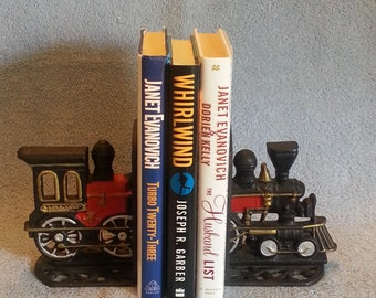 Cast Iron Bookends - Train Bookends - Locomotive Bookends - Steam Engine Bookends