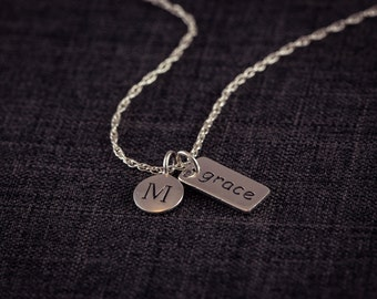 Grace and  Initial Necklace, Sterling SIlver, Personalized, Initial, Letter, Mom, grandma, friendship, gift