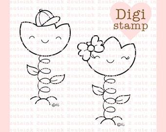 Tulip Kids Digital Stamp - Flower Digital Stamp - Digital Tulip Stamp - Tulip Art - Tulip Card Supply - Tulip Craft Supply