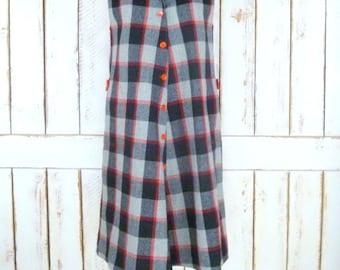 60s vintage grey/red checker board plaid wool aline shift dress/sleeveless plaid dress/tartan dress
