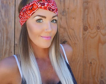 Red Bandana Pinup Turban Headband || Hair Band Festival Red White Black Accessory Workout Yoga Fashion Head Scarf Girl