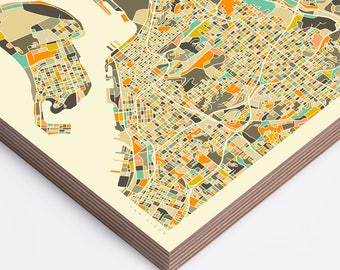 SAN DIEGO MAP (Ready to Hang, Birch Wood Print for your Home Décor)