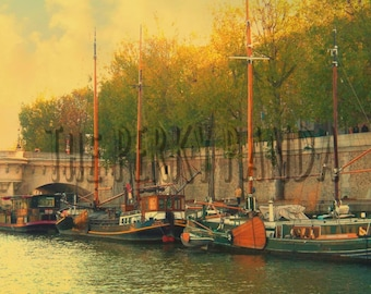 Rustic photo print, vintage, sailing boats, Paris, river, retro photo print, old photography, home decor, wall art