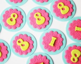 Fondant Initial and Age Toppers - Fondant Letter Topper - Fondant Number Toppers - Fondant Monogram - Fondant number and letter toppers