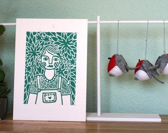 Linocut: Girl in the garden. Illustration, Linocut, handmade. Mural, home decoration.