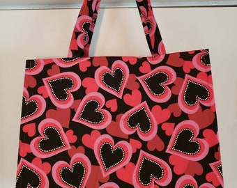 Red and Pinks Hearts Reusable Shopping Bag, Reusable Shopping Bag, Reusable Grocery Bag, Hearts Grocery Bag, Farmers Market Bag, Washable