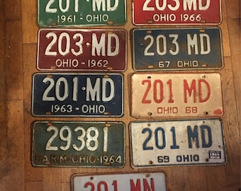 Vintage Ohio License Plate - 1959-1974 Available