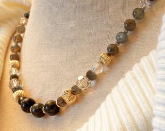 Classic, Elegant Labradorite and Swarovski Crystal Necklace