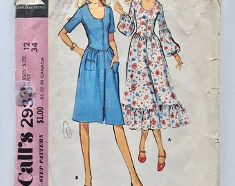Vintage Sewing Pattern, Juniors/Women's 70's McCall's 2933, Dress, Two Styles (S)