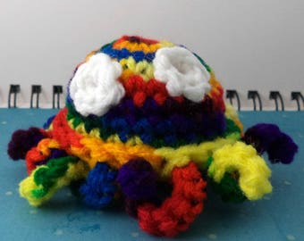 Crocheted Rainbow Octopus Plush with White Eyes