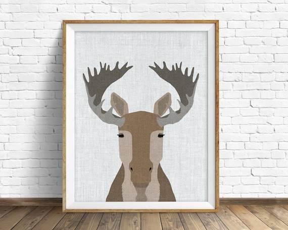Moose - art print, large art, mid century modern wall art, art for kids, nursery decor, nursery wall art, woodland nursery, nursery art
