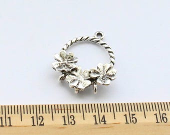 2 Basket of Flowers Charms Flower Basket Charms - EF00168