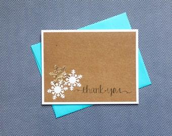 Snowflake Thank You, Gold Snowflake Thank You, Handmade Thank You, Handmade Cards, Christmas Thank You, Handmade Thank you cards, Snowflake