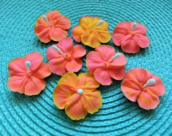 """Royal Icing Sunset Hibiscus Flowers 1 1/4""""- 1 1/2"""" - 6 PCS ReAdY To ShIp!"""