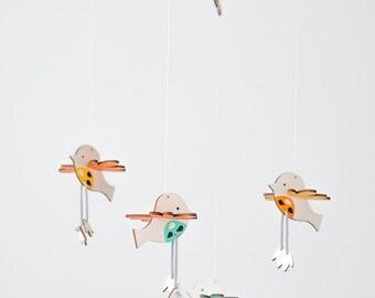 Nursery mobile, birds, handpainted, wood, baby crib mobile hanging, laser cut