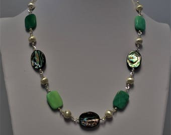 Abalone and Chrysoprase Sterling Silver Necklace