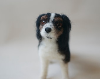 Custom 3D Dog Sculpture - Needle Felted Cavalier King Charles MADE To ORDER