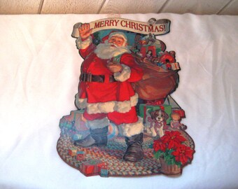 Vintage cardboard Santa Clause cut out, wall hanging, double sided, vintage Christmas decor, 80s, Merry Christmas banner