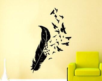 Feather Wall Decal Vinyl Sticker Decals Bird Home Decor Art Birds Of A Feather Nib Style Living Room Decor Boho Bedroom Nursery Dorm ZX144