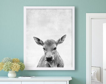 Cow Animal Print Black and White Art Grey Decor Living Room Art Family Room Decor Farm Animals Extra Large Prints Animal Poster Modern Art