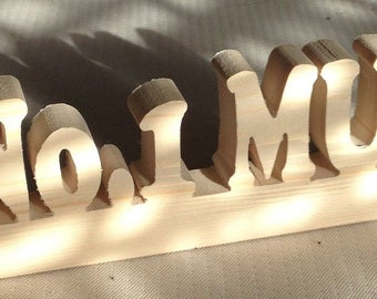 solid wood Personalized any name letter word sign symbol stand plaque block gift present sanded ready to paint home office wedding party