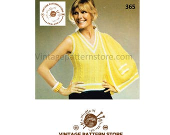 """Ladies, V neck, cable and wide rib, 2 colour, sleeveless tennis sports top & cardigan - 34"""" - 38"""" chest - Vintage PDF Knitting Pattern 365"""